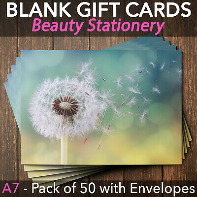 Blank Gift Voucher Card Massage Beauty Spa Nail Holistic Salon x50 + Envelopes