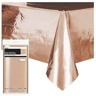 ROSE GOLD FOIL TABLE COVER, Baby Shower Party Tableware, Plastic, Reusable 53273