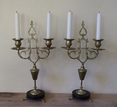 Pair Antique French Louis Xvi Gilt Bronze Candlesticks, Candelabra