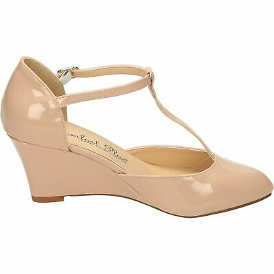 c7d4f69558 Ladies Nude Patent Comfort Plus Court Wedge T-Bar Shoes Wide Fit,size 3