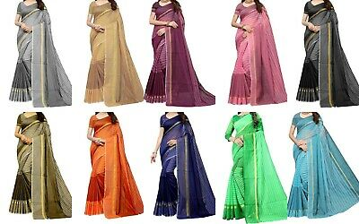Designer Cotton Silk Sari Pakistani Indian Kanchipuram Party Wear Saree New  SF