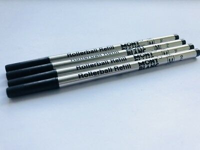 4 Black Mont Blanc Rollerball Refills- Medium Point