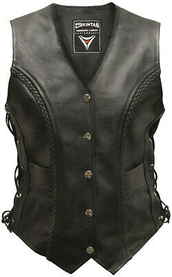 LADIES REAL LEATHER LACED MOTORCYCLE Biker WAISTCOAT LACES WOMENS Vest Gilet