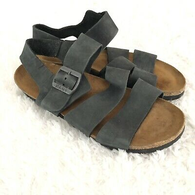 5f3871bdd024 Naot Womens Sandals Navy Blue Leather Cork Ankle Strap Buckle Size 39 8  Israel