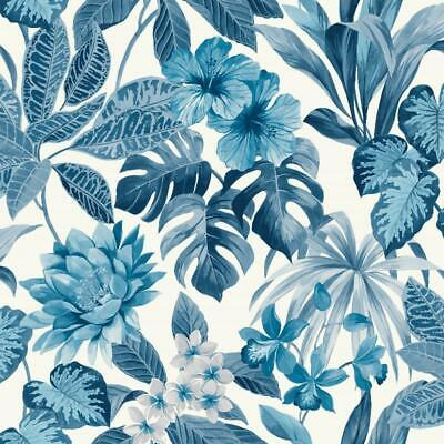 Tropica Rainforest Blue Jungle Palm Leaves Wallpaper FD42472