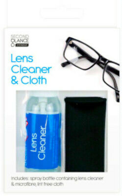 Glasses Cleaner Spray & Lint Free Microfibre Cloth Spectacle Lens Camera Clean