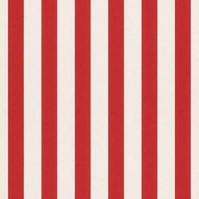Bambino Red and White Stripe Wallpaper by Rasch 246032