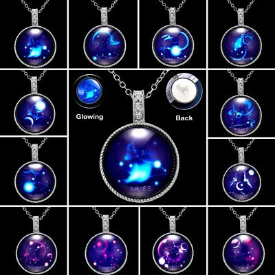 12 Zodiac Luminous Constellation Glow In The Dark Crystal Pendant Necklace Women