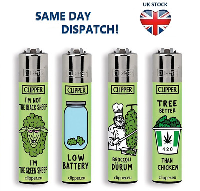 4x CLIPPER LIGHTERS THINK GREEN Weed Design Original Size Gas Flint Refillable
