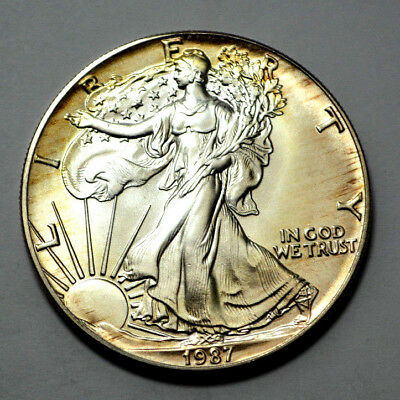 1987 GEM BU UNC MS American Silver Eagle Dollar 1 Oz Fine Silver Natural Toning!