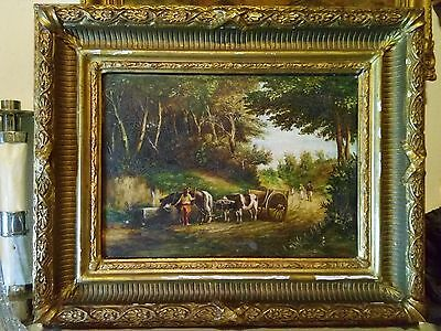 French Antique Painting 19th century ,signed: Saint du Groix
