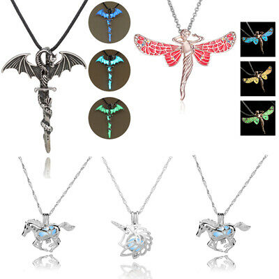 Vintage Luminous Glow In The Dark Cross Dragon Pendant Necklace Silver Jewelry
