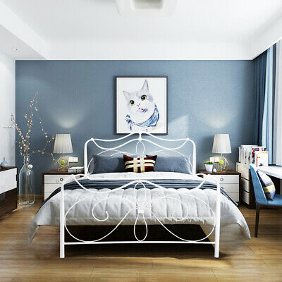 Cheap Bed Frame Double Metal Bedstead with Headboard without mattress