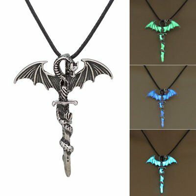 Vintage Luminous Silver Glow In The Dark Cross Dragon Pendant Necklace Chain Hot