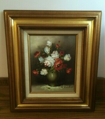 Vintage Signed R. Pasanault Rose Flower Still Life Canvas Oil Painting White Red