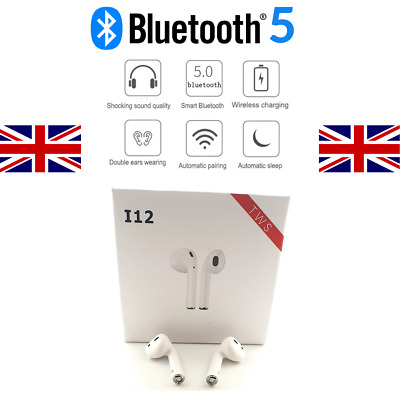 i12 TWS Bluetooth 5 Wireless Earphones Earbuds Earpods - UK Stock + 1yr Warranty