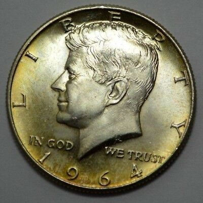 1964-P NATURAL TONING KENNEDY HALF DOLLAR 90% Silver, 50c Uncirculated !