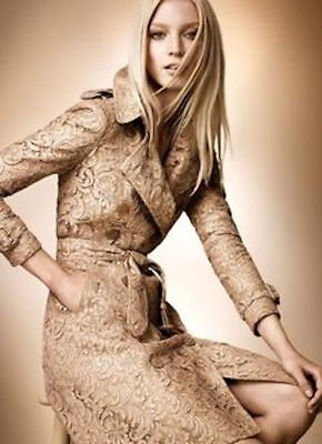 8cb305fdf0ab BURBERRY PRORSUM RUNWAY Gold Laser Cut Leather Trench Coat 44 ...