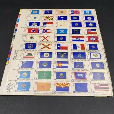 BICENTENNIAL STATE FLAGS (1976) #1633-82 Full Sheet of 50 Postage Stamps 13 cent