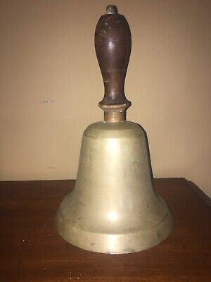 Antique School Bell 1800s Large Heavy Brass Wood Handle Hand-School Bell
