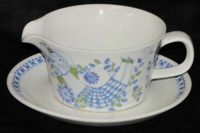 Vintage 1960's Lotte Turi Design Figgjo Norway Pottery Hand Painted Gravy Boat