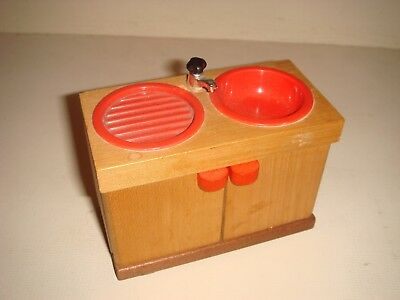 Vintage Dolls House Kitchen Sink Unit - Wood and Red Plastic 1970's