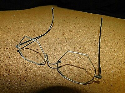 Vintage Antique Gold Wire Frame Eye Glasses RARE OCTAGON SHAPE...FREE SHIPPING !