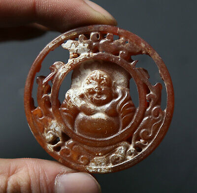 Chinese Old Jade Hand Carved Buddhism Happy Laugh Maitreya Buddha Amulet Pendant