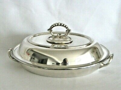 Antique Edwardian Silver Plate 3 Piece Beaded Covered Entree Vegetable Dish EXC