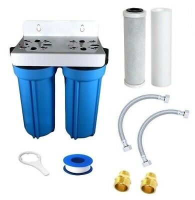 Under Sink High Flow Water Filter Kit Suits Kitchen Mixer Taps Twin Stage Carbon