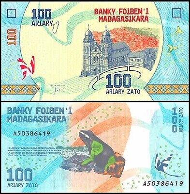 MADAGASCAR 100 Ariary Frogs Beautiful Banknote UNC