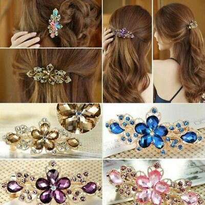 Crystal Metal Women Rhinestone Hair Clip Flowers Hairpin Bow Knot Barrette