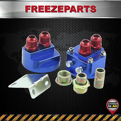 Universal AN8 Cooler Sandwich Plate Adapter Oil Filter Relocation Kits Blue Red