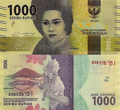 INDONESIA 1000 Rupiah Lovely New Series Banknote UNC