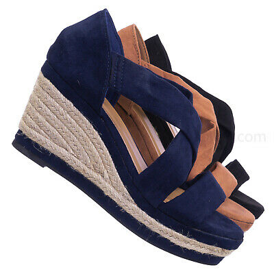 9ba49703bd3 Belle05 Espadrille Platform Wedge Sandal - Women Open Toe Cross Strap Shoes