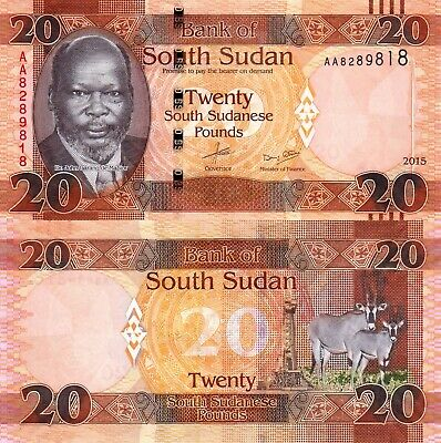 SOUTH SUDAN 20 Pounds African ORYX Beautiful Banknote UNC