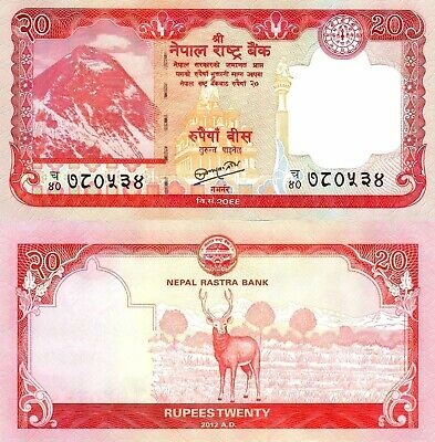 NEPAL 20 Rupees Mountain Deer / Stag Beautiful Banknote UNC