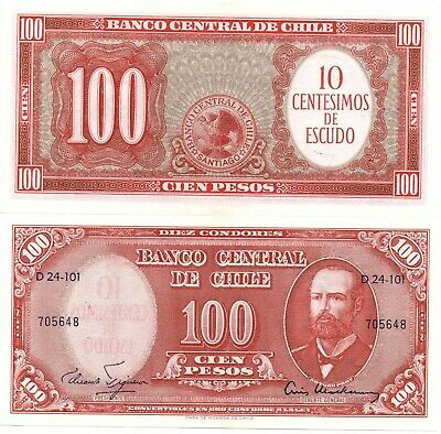 CHILE 100 Pesos on 10 Artistic Lovely Banknote UNC