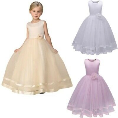 Girls Kids Flower Princess Formal Party Wedding Bridesmaid Long Dress Tulle Gift