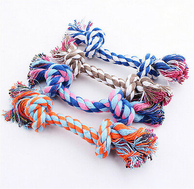 2019 Fashion Cute Pastel Knot Cotton Rope Bone Chew Tug Toy for Pet Doggy