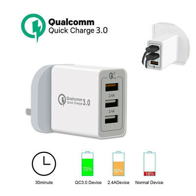 New 3Port 30W Fast Qualcomm Quick Charge QC 3.0 USB Hub Wall Charger Adapter