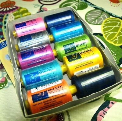 Box 12 Assorted Colours 1000 Metres Each, Birch Sewing Thread