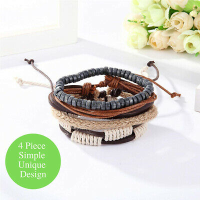 New Fashion Braided Rope Cord Multi Strand Adjustable Leather Wrap Cuff Bracelet