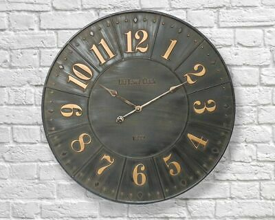 Giant 79cm Industrial Metal Iron Large Wall Clock Vintage Retro Home - FREE P+P
