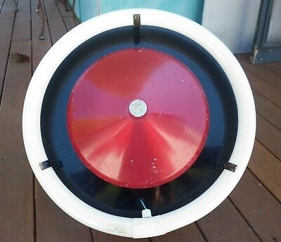 Retro Red Anodised Ceiling Light - Round Fluoro - UFO - 1950s Fixture Metal