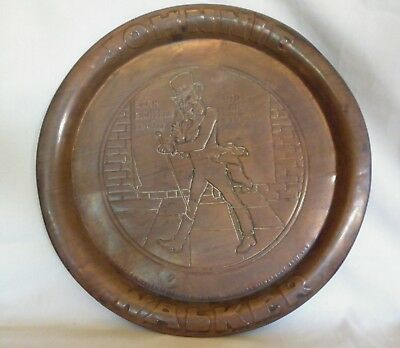 Vintage Antique Copper Johnnie Walker Advertising Tray - 1940's? Scotch Whiskey