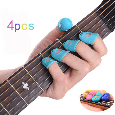 4pcs Silicone Finger Picks Protector Plectrum Guitar Thumb Colors in Random