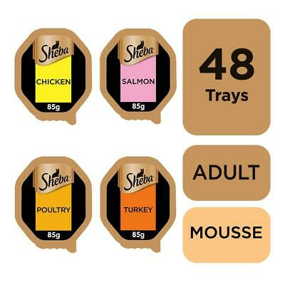 Sheba Adult Wet Cat Food Trays Mixed Collection in Mousse 48 x 85g Trays