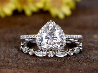 2CT Round Cut 14k White Gold Over Engagement Forever Diamond Ring Set