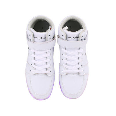 LED Flashing Light up Shoes Men Women Sneakers Trainers WHITE High-Top(JS03)